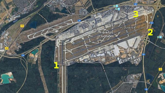 Karte für Planespotter Frankfurt Flughafen