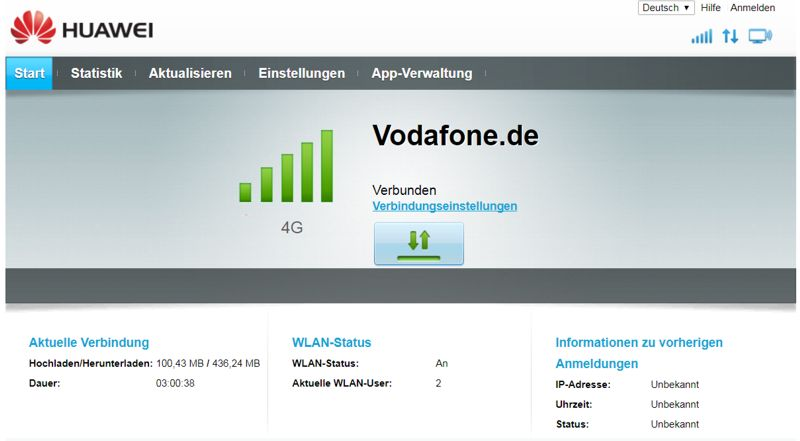 Das Interface des Vodafone Giga Cube