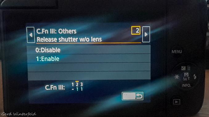 Kamera Einstellungen für analoge Objektive