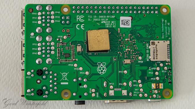 Der Raspberry PI 3 Model B+ von unten