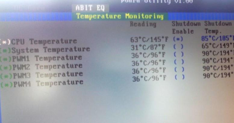 Temperaturüberwachung der CPU im BIOS