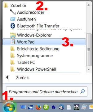 Briefe schreiben am PC mit Wordpad